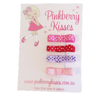 Deluxe Hair Bow Clips for Girls Babies- Spots - Non Slip Hair Clips