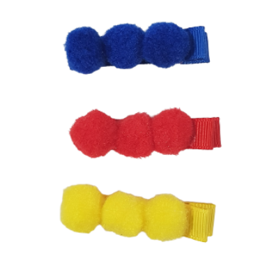 Embellished Hair Clip - Set of Three (Red, Blue, Yellow Hair Accessories for Baby Girl Pinkberry Kisses