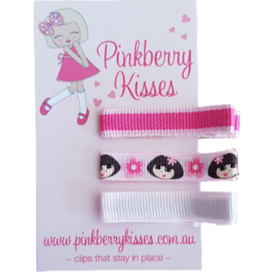 Everyday non slip hair clips - Dora on pink - Ballet Love Baby Hair Accessories Toddler Hair Accessories Girl Hair Accessories Pinkberry Kisses