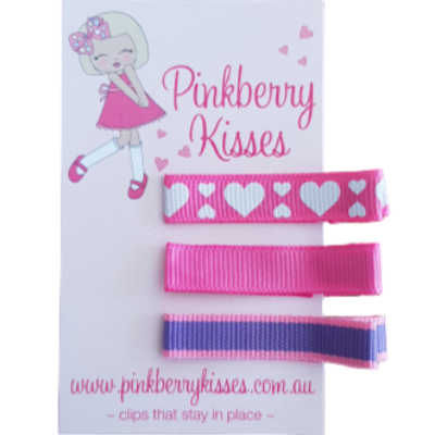 Everyday non slip hair clips - Hearts on pink - Ballet Love Baby Hair Accessories Toddler Hair Accessories Girl Hair Accessories Pinkberry Kisses