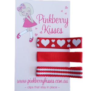 Everyday non slip hair clips - Hearts on red - Ballet Love Baby Hair Accessories Toddler Hair Accessories Girl Hair Accessories Pinkberry Kisses