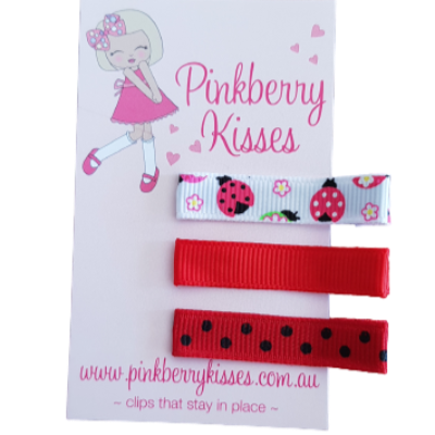 Everyday non slip hair clips - Ladybird in red - Ballet Love Baby Hair Accessories Toddler Hair Accessories Girl Hair Accessories Pinkberry Kisses