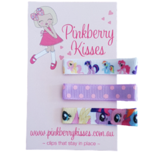 Everyday non slip hair clips - My little pony Baby Hair Accessories Toddler Hair Accessories Girl Hair Accessories Pinkberry Kisses