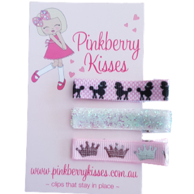 Everyday non slip hair clips - Poodle princess - Ballet Love Baby Hair Accessories Toddler Hair Accessories Girl Hair Accessories Pinkberry Kisses