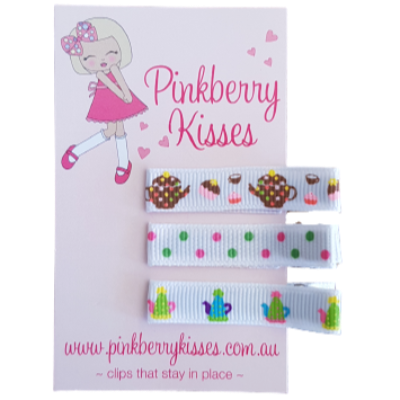 Everyday non slip hair clips - Tea for two Baby Hair Accessories Toddler Hair Accessories Girl Hair Accessories Pinkberry Kisses