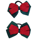 School uniform hair accessories Double Cherish Bow - Hunter Green Forest Green Base & Centre Ribbon Red - Pinkberry Kisses