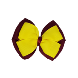 School uniform hair accessories Double Cherish Bow 11cm - Burgundy Base & Centre Ribbon Daffodil Yellow - Pinkberry Kisses