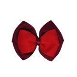 School uniform hair accessories Double Cherish Bow 11cm - Burgundy Base & Centre Ribbon Red - Pinkberry Kisses