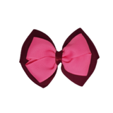 School uniform hair accessories Double Cherish Bow 11cm - Burgundy Base & Centre Ribbon Shocking Pink - Pinkberry Kisses