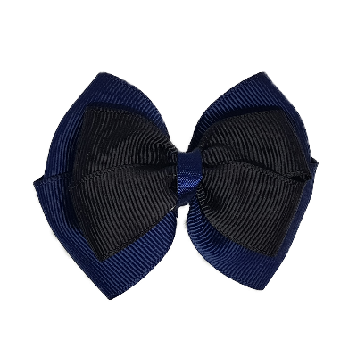 School uniform hair accessories Double Cherish Hair Bow 9cm - Navy Blue Base & Centre Ribbon Black - Pinkberry Kisses