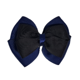 School uniform hair accessories Double Cherish Bow 11cm - Navy Blue Base & Centre Ribbon Black - Pinkberry Kisses