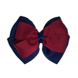 School uniform hair accessories Double Cherish Hair Bow 9cm - Navy Blue Base & Centre Ribbon Burgundy - Pinkberry Kisses