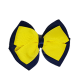School uniform hair accessories Double Cherish Hair Bow 9cm - Navy Blue Base & Centre Ribbon Daffodil Yellow - Pinkberry Kisses