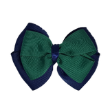School uniform hair accessories Double Cherish Hair Bow 9cm - Navy Blue Base & Centre Ribbon Dark Green - Pinkberry Kisses