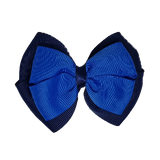 School uniform hair accessories Double Cherish Hair Bow 9cm - Navy Blue Base & Centre Ribbon Electric Blue - Pinkberry Kisses