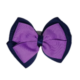 School uniform hair accessories Double Cherish Hair Bow 9cm - Navy Blue Base & Centre Ribbon Grape - Pinkberry Kisses