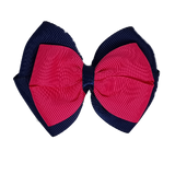 School uniform hair accessories Double Cherish Hair Bow 9cm - Navy Blue Base & Centre Ribbon Hot Pink - Pinkberry Kisses
