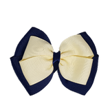 School uniform hair accessories Double Cherish Hair Bow 11cm - Navy Blue Base & Centre Ribbon Ivory - Pinkberry Kisses