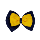 School uniform hair accessories Double Cherish Hair Bow 9cm - Navy Blue Base & Centre Ribbon Maize - Pinkberry Kisses