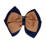 School uniform hair accessories Double Cherish Hair Bow 9cm - Navy Blue Base & Centre Ribbon  Natural - Pinkberry Kisses