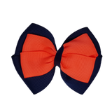 School uniform hair accessories Double Cherish Hair Bow 9cm - Navy Blue Base & Centre Ribbon Neon Orange - Pinkberry Kisses