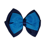 School uniform hair accessories Double Cherish Hair Bow 9cm - Navy Blue Base & Centre Ribbon  Royal Blue - Pinkberry Kisses