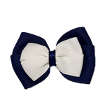 School uniform hair accessories Double Cherish Hair Bow 11cm - Navy Blue Base & Centre Ribbon White - Pinkberry Kisses