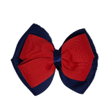 School uniform hair accessories Double Cherish Hair Bow 11cm - Navy Blue Base & Centre Ribbon Red - Pinkberry Kisses