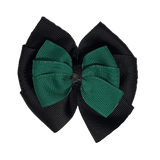 School uniform hair accessories Double Bella Bow 10cm - Black Base & Centre Ribbon Dark Green - Pinkberry Kisses