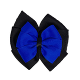 School uniform hair accessories Double Bella Bow 10cm - Black Base & Centre Ribbon Electric Blue - Pinkberry Kisses