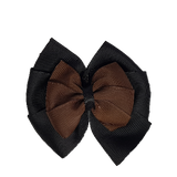 School uniform hair accessories Double Bella Bow 10cm - Black Base & Centre Ribbon Brown - Pinkberry Kisses