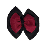 School uniform hair accessories Double Bella Bow 10cm - Black Base & Centre Ribbon Burgundy - Pinkberry Kisses