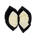 School uniform hair accessories Double Bella Bow 10cm - Black Base & Centre Ribbon Ivory - Pinkberry Kisses