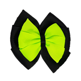 School uniform hair accessories Double Bella Bow 10cm - Black Base & Centre Ribbon Key Lime - Pinkberry Kisses