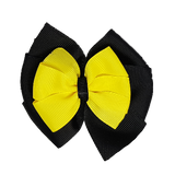 School uniform hair accessories Double Bella Bow 10cm - Black Base & Centre Ribbon Lemon - Pinkberry Kisses