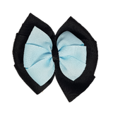 School uniform hair accessories Double Bella Bow 10cm - Black Base & Centre Ribbon Light Blue - Pinkberry Kisses