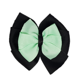 School uniform hair accessories Double Bella Bow 10cm - Black Base & Centre Ribbon Light Green - Pinkberry Kisses