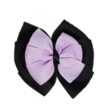 School uniform hair accessories Double Bella Bow 10cm - Black Base & Centre Ribbon Light Purple - Pinkberry Kisses