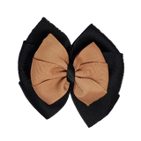 School uniform hair accessories Double Bella Bow 10cm - Black Base & Centre Ribbon Natural - Pinkberry Kisses