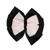 School uniform hair accessories Double Bella Bow 10cm - Black Base & Centre Ribbon Light Pink - Pinkberry Kisses