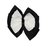 School uniform hair accessories Double Bella Bow 10cm - Black Base & Centre Ribbon White - Pinkberry Kisses