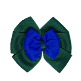 School uniform hair accessories Double Bella Bow 10cm - Dark Green Base & Centre Ribbon Electric Blue - Pinkberry Kisses