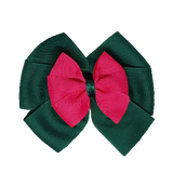 School uniform hair accessories Double Bella Bow 10cm - Dark Green Base & Centre Ribbon Hot Pink - Pinkberry Kisses