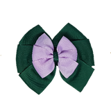 School uniform hair accessories Double Bella Bow 10cm - Dark Green Base & Centre Ribbon Light Purple - Pinkberry Kisses