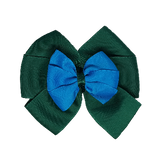 School uniform hair accessories Double Bella Bow 10cm - Dark Green Base & Centre Ribbon Methyl Blue - Pinkberry Kisses