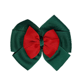 School uniform hair accessories Double Bella Bow 10cm - Dark Green Base & Centre Ribbon Red - Pinkberry Kisses