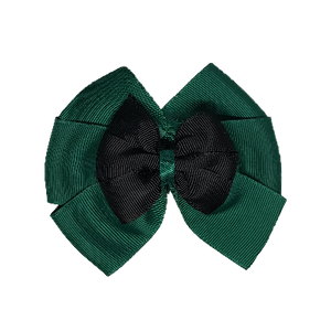 School uniform hair accessories Double Bella Bow 10cm - Dark Green Base & Centre Ribbon Black - Pinkberry Kisses