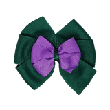 School uniform hair accessories Double Bella Bow 10cm - Dark Green Base & Centre Ribbon Grape - Pinkberry Kisses