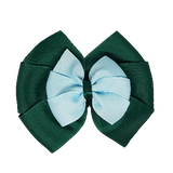 School uniform hair accessories Double Bella Bow 10cm - Dark Green Base & Centre Ribbon Light Blue - Pinkberry Kisses