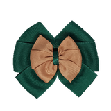 School uniform hair accessories Double Bella Bow 10cm - Dark Green Base & Centre Ribbon Natural - Pinkberry Kisses